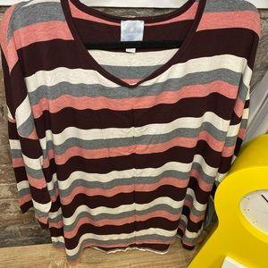 Dress Barn Sunday Edition Red Stripped Shirt